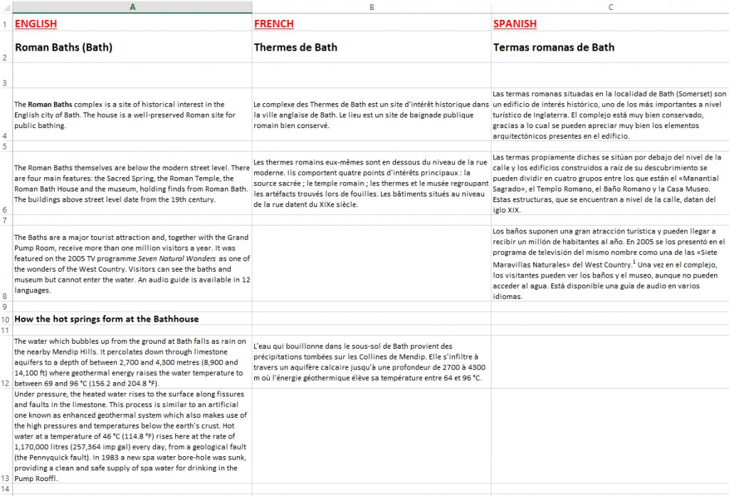 Excel multilingüe